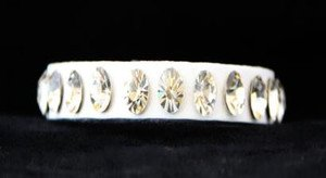 White Thin Leather Cuff~Genuine Austrian Crystal Adjustable Bracelet~ NWT CUTE!
