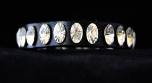 Black Leather Thin Cuff~Genuine Austrian Crystal Adjustable Bracelet~ NWT CUTE!