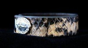 Genuine Snake Skin Leather Cuff Bracelet~Adjustable Snap Cuff~ NWT Retail $35+