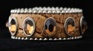 Beige Leather Cuff Bracelet ~ Adjustable ~ NWT Retail $35+CUTE!!! BLING Cuff