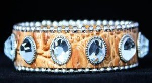 Beige Leather Cuff~BLING Adjustable Bracelet~ NWT Retail $35+