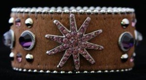 Wide Leather Brown & Purple Star Cuff With~hair on hide- NWT  CUTE! Retail 39+++