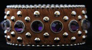Wide Leather Brown & Purple Cuff With~hair on hide- new Never Worn!  CUTE!