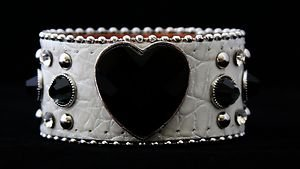 Black & White Bling Heart Cuff Genuine Leather Adjustable Cuff - NWT Retail $39+
