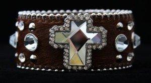 Western Bling Cuff Bracelet Dark Brown~  Leather Hair on Hide NWT Cross Cuff
