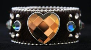 Heart Bling Cuff Brown Genuine Leather Adjustable Cuff - NWT Retails For $39+