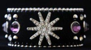 Star Cuff Bracelet Black & Purple~Leather Hair on Hide Gen Austrian Crystal NWT