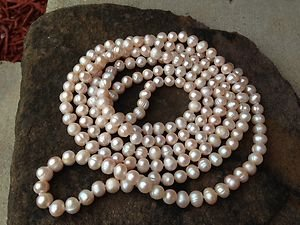 GENUINE Freshwater Pearl Necklace ~~STUNNING~NEW~Never Worn! 7mm Pink/peach