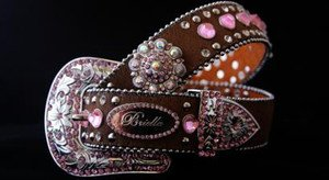 Brown & Pink  Bling Belt Austrian Crystal~Hair On Hide NWT S, M, L, XL~Beautiful