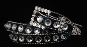 Black Bling Skinny Belt~Genuine Leather & Austrian Crystal~NWT~all Sizes!!