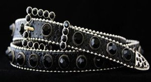 Black Skinny Belt~Genuine Leather & Austrian Crystal~NWT~all Sizes!! GORGEOUS!!