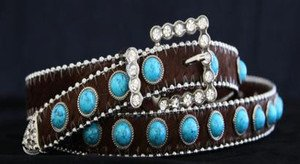 Brown & Turquoise Skinny Belt~Genuine Leather & Austrian Crystal NWT~ALL Sizes!