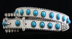 White & Turquoise Skinny Belt~Genuine Leather & Austrian Crystal NWT~ALL Sizes!