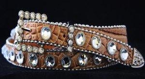 Beige Skinny Belt~Genuine Leather & Austrian Crystal~NWT~all Sizes!!
