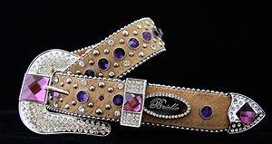 Brown & Purple Belt w/ Crystal~Leather~ NWT~~Beautiful S, M, L, XL