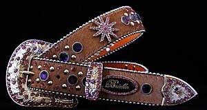 Brown & Purple Star  Belt w/ Crystal~Leather~ NWT~~Beautiful S, M, L, XL