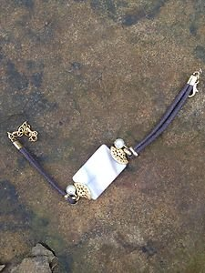 Turkish Style Leather Mother of Pearl Bracelet Hand Made In Turkey dipped in 24k