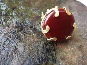 TURKISH JEWELRY~Turkish Ring Semi Precious Gemstone Dark Orange Carnelian~