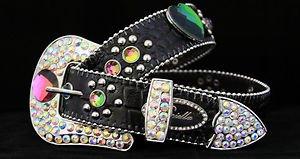 Black Colorful Heart Belt Austrian Crystal~Hair On Hide NWT S, M, L,~CUTE!!