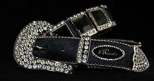 Black Bling Belt ,Austrian Crystal~Hair On Hide NWT S, M, L, XL~Gorgeous!!