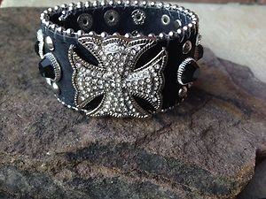 Black Bling Iron Cross CUFF~Genuine Leather & Austrian Crystal~Adjustable NWT!