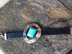 Black Leather Cuff ~Embellished in Turquoise ~NWT~CUTE!!!! Retails for $47.00!!!