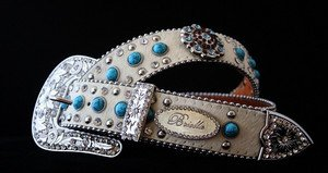 Turquoise Bling BELT White Gen LEATHER Hair on hide & Austrian Crystal ALL SIZES