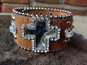 Western Bling Cuff Bracelet Brown~ Genuine Leather Hair on Hide NWT Cross Cuff