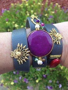 Turkish Jewelry Leather Wrap Bracelet With Purple Jade and Genuine Stones NWT!!