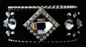 Black Bling Cuff Bracelet Black Leather W/ Austrian Crystals Hair on hide NWT