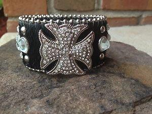 Cowgirl Bling wide CUFF~Genuine Leather & Austrian Crystal~Adjustable NWT!!