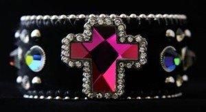 Cowgirl Bling Black Wide Cuff  Bracelet Leather Austrian Crystal~Adjustable NWT