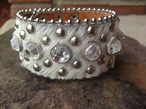 White Bling  Bracelet~Cuff~Genuine Leather  NWT~Stunning!!