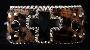 Leopard Bling Cuff w/ Cross Wide~ Genuine Leather Hair on Hide NWT Gorgeous!!