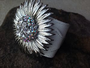 WHITE GENUINE Leather Flower Cuff ~Embellished in Genuine Austrian Crystal~ NWT
