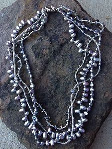 Fresh Water Pearl Necklace Genuine Gray Pearls VERY Beautiful!! NWT