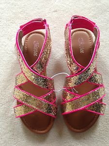 GIRLS JUSTICE Gold GLITTER & Hot Pink SANDALS Size 6~NWT~great Price!! NWT