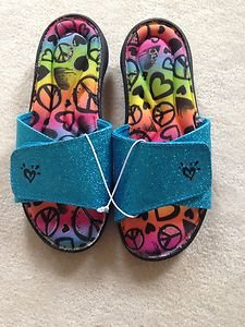 NWT GIRLS JUSTICE SZ  7 FLIP FLOPS SANDALS~teal With Peace Signs~cute!!