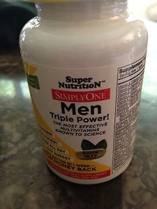 Mens Vitamens SUPER NUTRITION SIMPLY ONE MEN TRIPLE POWER  exp 9~2015