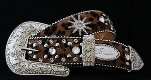 Cowgirl Belt~Leopard Print Bling Belt Genuine Leather & Crystal~NWT~small med lg