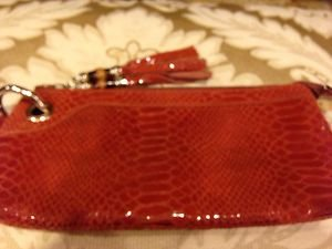 Rust~orange Cosmetic  POUCH~ BAG~PURSE~GENUINE LEATHER Snake Embossed~NWOT