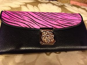 Zebra Print Pink  Wallet~GENUINE LEATHER WITH FUR~beautiful!! NWOT