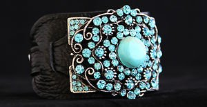 Black Leather Cuff ~Embellished in Turquoise  & Gen Turquoise Crystal~NWT Buckle