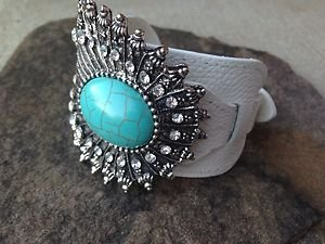 WHITE GENUINE Leather Buckle Cuff ~Embellished in TURQUOISE & Clear Crystal~ NWT