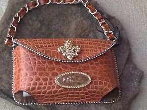 Clutch Cell PURSE FLEUR DE LIS GENUINE LEATHER & Gold Austrian Crystal NWT~