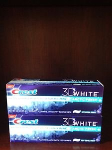 Crest 3-D White Arctic Fresh Icy Cool Mint 4.0 Oz~LOT Of 2 Boxes~factory Sealed!