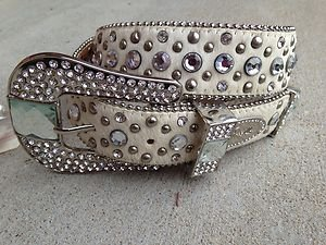 White BLING Belt Genuine Leather Hair on Hide & Genuine Crystal~Small~ NWT
