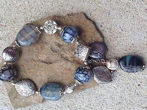 CHARM BRACELET~VERY GORGEOUS!! NWT! GENUINE GRAY AGATE SEMI PRECIOUS stones!!