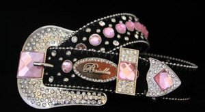 Cowgirl Bling Belt~Black And Pink Genuine Leather~Hair On Hide & Crystal~NWT~SML