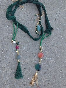 Turkish Necklace~Pure Spun Silk Adorned W/Semi Precious Gemstones One Of A Kind!